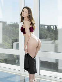 Young Brunette Babe Melissa Moore Strips By The Window
