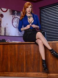 Busty Redhead Secretary Lauren Phillips Gets Naked