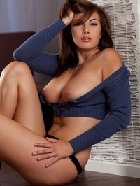 Conny Lior Takes Off Her Blue Sweater