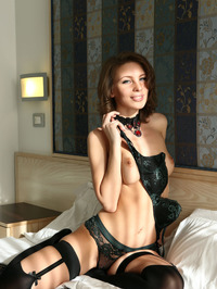 Perfect Russian Babe Galina In Sexy Black Lingerie