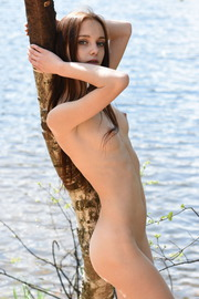Sexy Brunette Teen Babe Pala Strips Outdoors