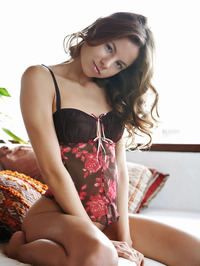 Curly Brunette Babe Antea In Sexy Babydoll