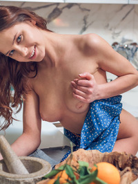 Sexy Teen Barbara Vie Gets Naked In The Kitchen
