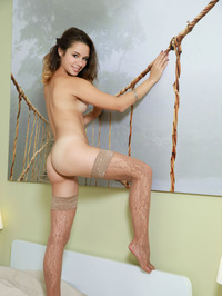Brunette Hottie Emmy Only In Sexy Tan Stockings