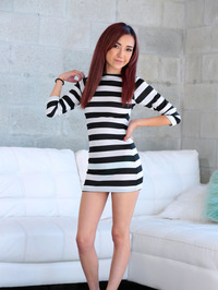 Slim Redhead Teen Dolce Vandela Stripping Naked
