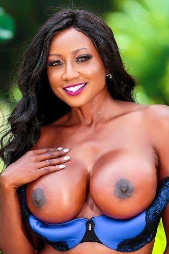 Busty Ebony MILF Diamond Jackson Stripping Outdoors