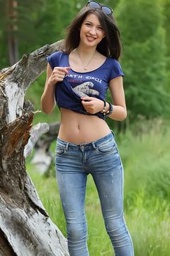 Yummy Brunette Skinny Jeans