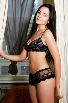 Nobody wears sexy black lingerie better than Bridgette Angel